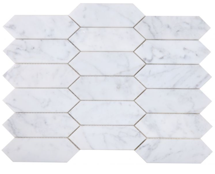 Elongated-Hex-Carrara-Honed