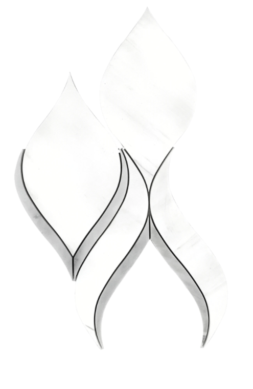 Fusion Dolomite Marble Waterjet Mosaic w/Bianco Gioia Honed