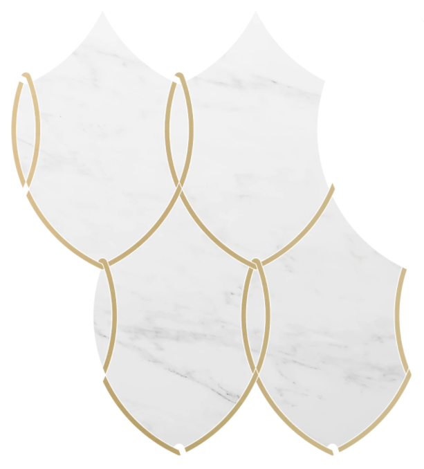 Reina Bianco Bello Marble Waterjet Mosaic w/Brass Polished