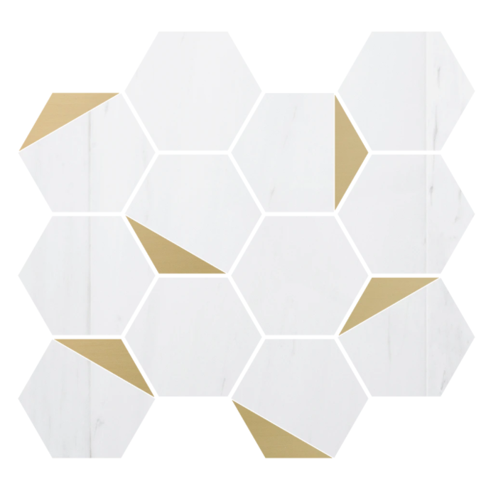 "Retro Dolomite Marble 3"" Hexagon w/Brass Polished"