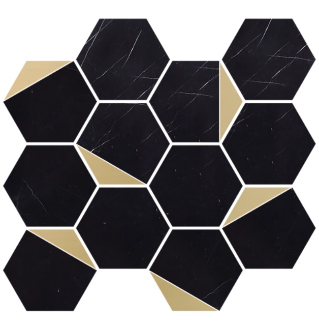 "Retro Nero Marquina 3"" Hexagon w/Brass Polished"