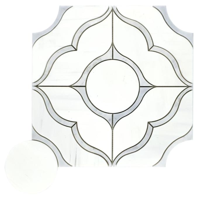 Roma Dolomite Marble Waterjet Mosaic w/Bianco Gioia Honed