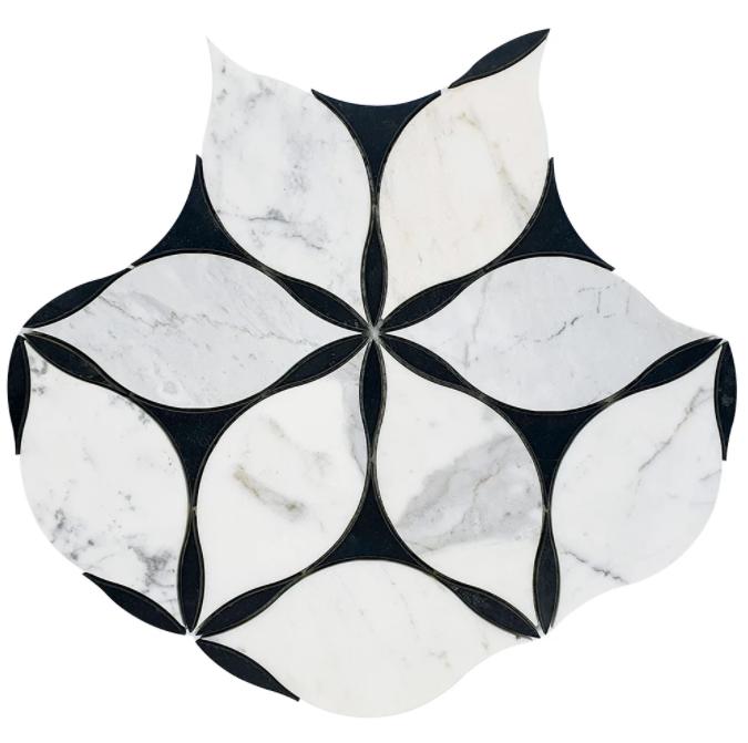Valentino Calacatta Marble Waterjet Mosaic w/Nero Marble Honed