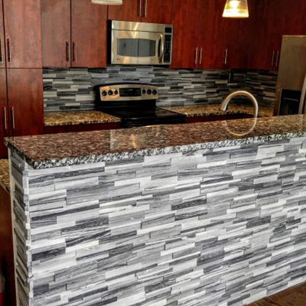 White and Grey Quartzite Honed Finish Stacked Stone