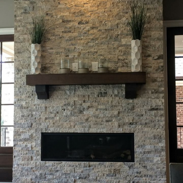 Silver Travertine Splitface Stacked Stone