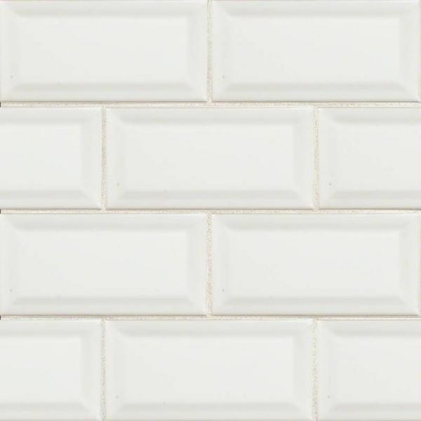 3x6 White Beveled Subway Tile