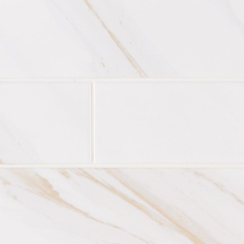 4x16 Classic White Calacatta Ceramic Subway