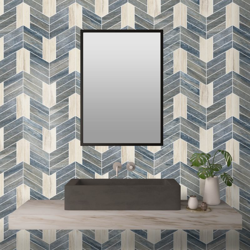 Chevron Johnathon Blue and White Porcelain Mosaic