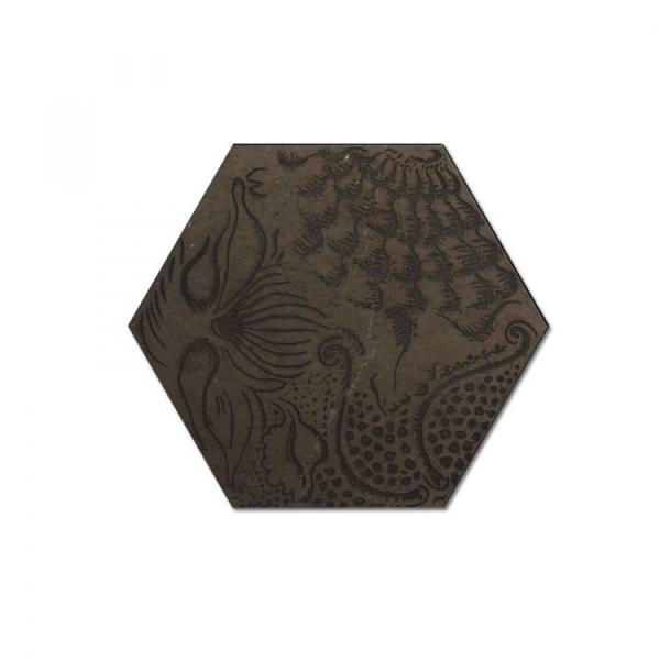 Engraved Hexagon Gray Waterjet Cut Mosaic
