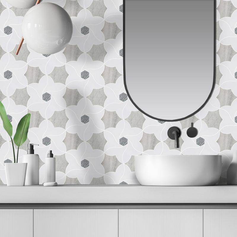 Ipomea Waterjet Cut Porcelain Mosaic