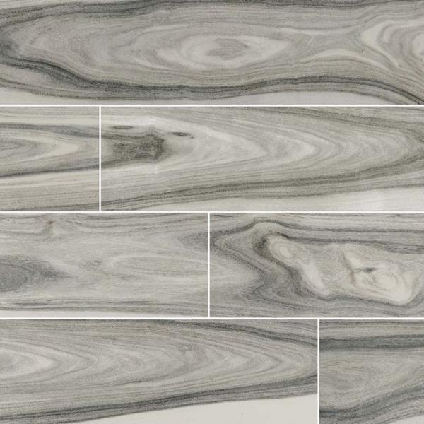 8x48 Polished Grey Wood Look Porcelain Tile