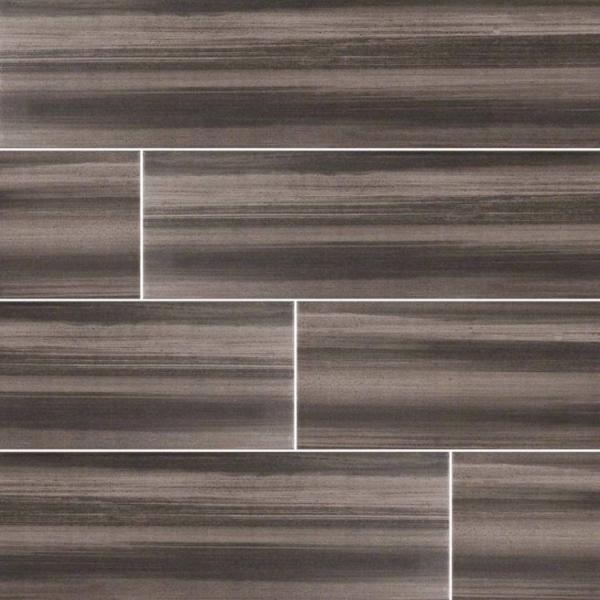 Graphite Watercolor Wood Look Porcelain Tile