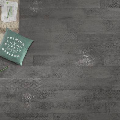 Nordek Antracite Decor Wood Look Porcelain Tile